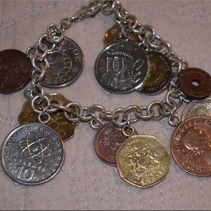 Coin charm bracelet sterling silver
